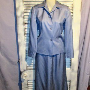 Talbots 4P Silk Blue Skirt Suit